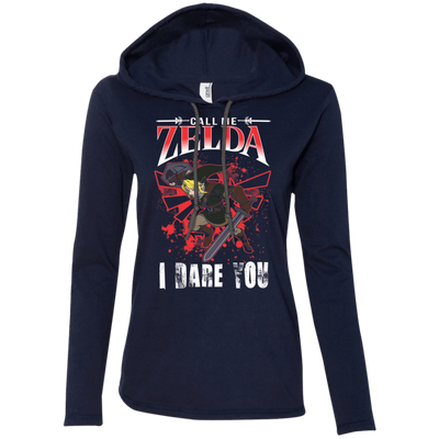 CustomCat Apparel Ladies LS T-Shirt Hoodie / Navy/Dark Grey / Small Call Me Zelda I Dare You Ladies Tee