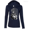 CustomCat Apparel Ladies LS T-Shirt Hoodie / Navy/Dark Grey / Small Captain America Flag Ladies Tee