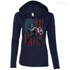 CustomCat Apparel Ladies LS T-Shirt Hoodie / Navy/Dark Grey / Small Captain America Ladies Tee