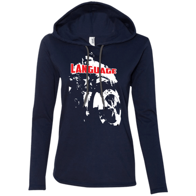 CustomCat Apparel Ladies LS T-Shirt Hoodie / Navy/Dark Grey / Small Captain America Language Ladies Tee