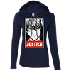 CustomCat Apparel Ladies LS T-Shirt Hoodie / Navy/Dark Grey / Small Death Note Justice Ladies Tee