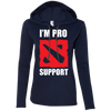 CustomCat Apparel Ladies LS T-Shirt Hoodie / Navy/Dark Grey / Small Dota 2 Proud Support Ladies Tee