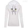 CustomCat Apparel Ladies LS T-Shirt Hoodie / White/Dark Grey / Small Cat Face Tee