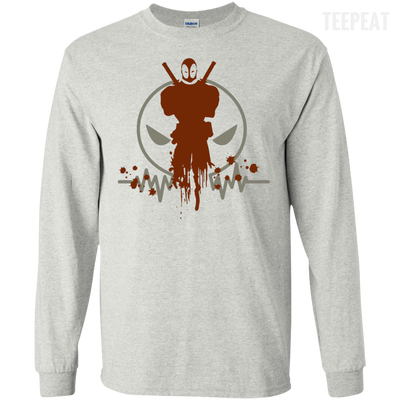 CustomCat Apparel LS Ultra Cotton Tshirt / Ash / Small Deadpool Pulse Light Tee