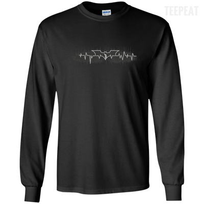 CustomCat Apparel LS Ultra Cotton Tshirt / Black / Small Bat Pulse Tee