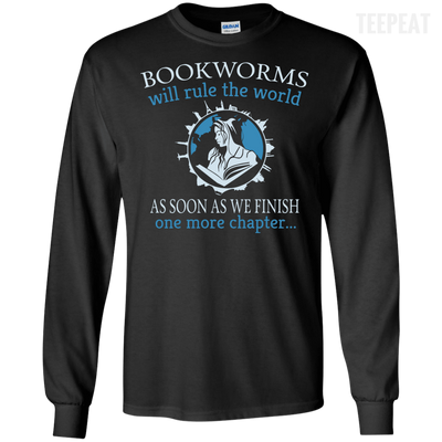 CustomCat Apparel LS Ultra Cotton Tshirt / Black / Small Bookworms Will Rule The World Tee