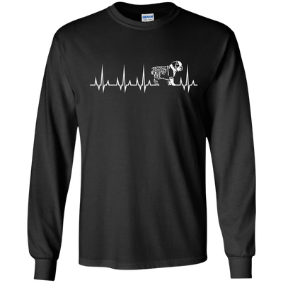 CustomCat Apparel LS Ultra Cotton Tshirt / Black / Small Cardiogram Dog Tee