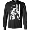 CustomCat Apparel LS Ultra Cotton Tshirt / Black / Small Deadpool Flag Tee