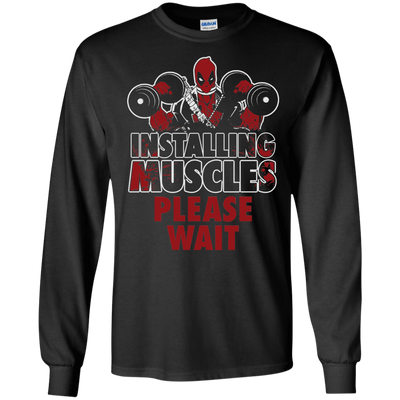 CustomCat Apparel LS Ultra Cotton Tshirt / Black / Small Deadpool Installing Muscles Tee