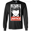 CustomCat Apparel LS Ultra Cotton Tshirt / Black / Small Death Note Justice Tee
