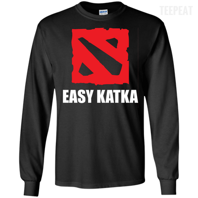 CustomCat Apparel LS Ultra Cotton Tshirt / Black / Small Dota 2 Easy Katka Tee