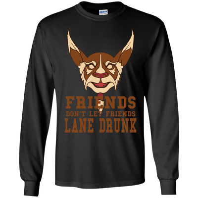 CustomCat Apparel LS Ultra Cotton Tshirt / Black / Small Dota 2 Lane Drunk Tee