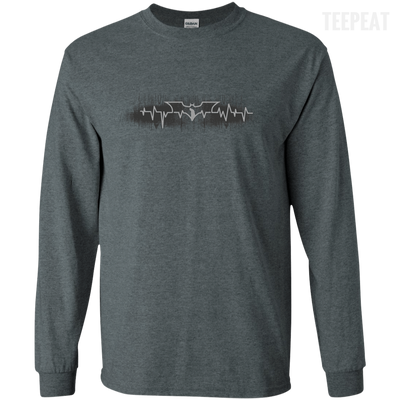 CustomCat Apparel LS Ultra Cotton Tshirt / Dark Heather / Small Bat Pulse Tee