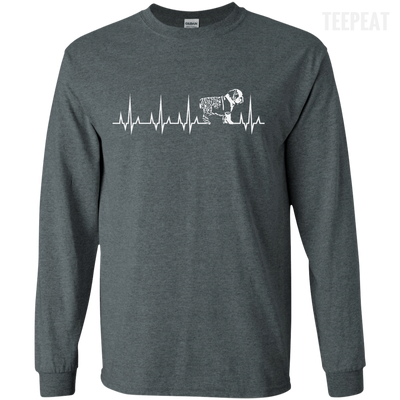 CustomCat Apparel LS Ultra Cotton Tshirt / Dark Heather / Small Cardiogram Dog Tee