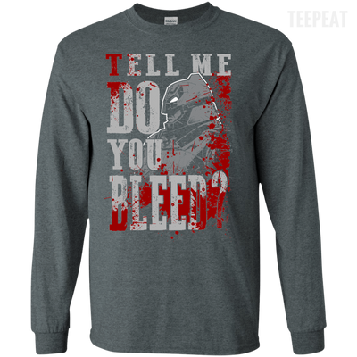 CustomCat Apparel LS Ultra Cotton Tshirt / Dark Heather / Small Do You Bleed Tee