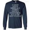 CustomCat Apparel LS Ultra Cotton Tshirt / Navy / Small A Mind Needs Books Tee