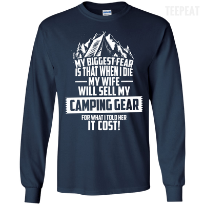 CustomCat Apparel LS Ultra Cotton Tshirt / Navy / Small Biggest Fear Camping Gear Tee