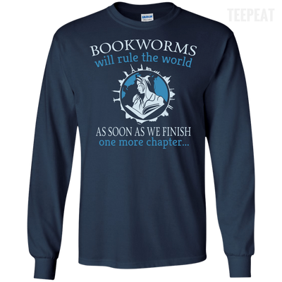CustomCat Apparel LS Ultra Cotton Tshirt / Navy / Small Bookworms Will Rule The World Tee