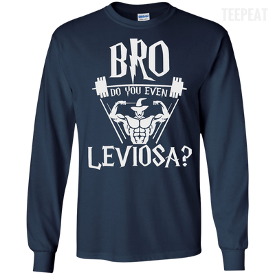 CustomCat Apparel LS Ultra Cotton Tshirt / Navy / Small Bro Do You Even Leviosa Tee