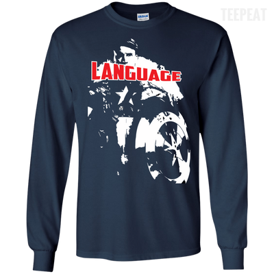 CustomCat Apparel LS Ultra Cotton Tshirt / Navy / Small Captain America Language Tee