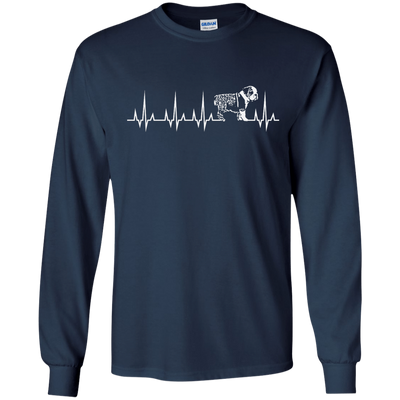 CustomCat Apparel LS Ultra Cotton Tshirt / Navy / Small Cardiogram Dog Tee