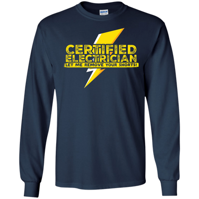 CustomCat Apparel LS Ultra Cotton Tshirt / Navy / Small Certified Electrician Tee