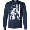 CustomCat Apparel LS Ultra Cotton Tshirt / Navy / Small Deadpool Flag Tee