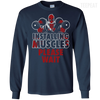 CustomCat Apparel LS Ultra Cotton Tshirt / Navy / Small Deadpool Installing Muscles Tee