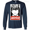 CustomCat Apparel LS Ultra Cotton Tshirt / Navy / Small Death Note Justice Tee