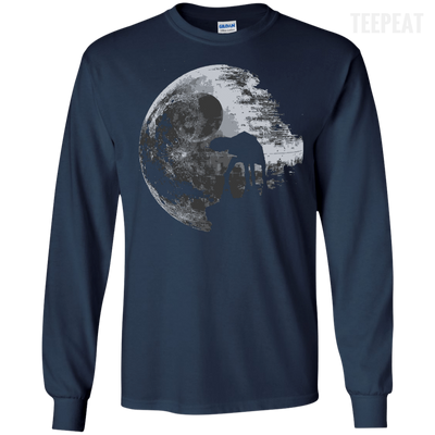 CustomCat Apparel LS Ultra Cotton Tshirt / Navy / Small Death Star Tee