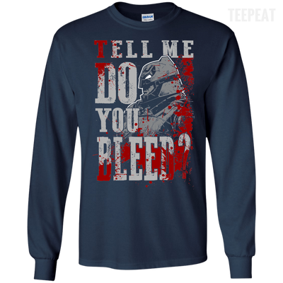 CustomCat Apparel LS Ultra Cotton Tshirt / Navy / Small Do You Bleed Tee