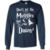 CustomCat Apparel LS Ultra Cotton Tshirt / Navy / Small Don't Let The Muggles Get You Down Tee