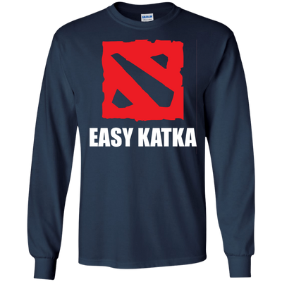 CustomCat Apparel LS Ultra Cotton Tshirt / Navy / Small Dota 2 Easy Katka Tee