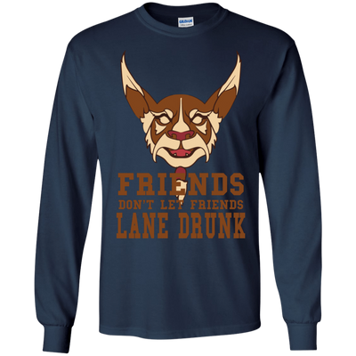 CustomCat Apparel LS Ultra Cotton Tshirt / Navy / Small Dota 2 Lane Drunk Tee
