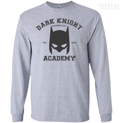 CustomCat Apparel LS Ultra Cotton Tshirt / Sport Grey / Small Dark Knight Academy Tee