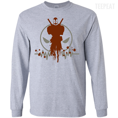 CustomCat Apparel LS Ultra Cotton Tshirt / Sport Grey / Small Deadpool Pulse Light Tee