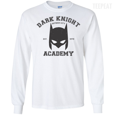 CustomCat Apparel LS Ultra Cotton Tshirt / White / Small Dark Knight Academy Tee