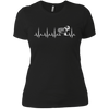 CustomCat Apparel Next Level Ladies' Boyfriend Tee / Black / X-Small Cardiogram Dog Tee