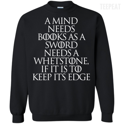 CustomCat Apparel Printed Crewneck Pullover Sweatshirt  8 oz / Black / Small A Mind Needs Books Tee
