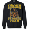 CustomCat Apparel Printed Crewneck Pullover Sweatshirt  8 oz / Black / Small Aquaman Swimming Team Tee