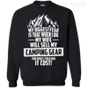 CustomCat Apparel Printed Crewneck Pullover Sweatshirt  8 oz / Black / Small Biggest Fear Camping Gear Tee
