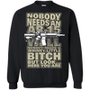 CustomCat Apparel Printed Crewneck Pullover Sweatshirt  8 oz / Black / Small Bitch Here You Are Tee