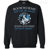 CustomCat Apparel Printed Crewneck Pullover Sweatshirt  8 oz / Black / Small Bookworms Will Rule The World Tee