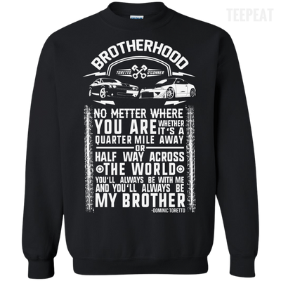 CustomCat Apparel Printed Crewneck Pullover Sweatshirt  8 oz / Black / Small Brotherhood Tee