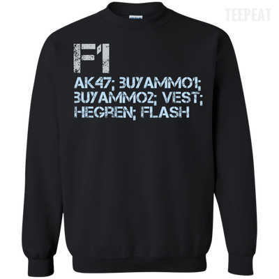 CustomCat Apparel Printed Crewneck Pullover Sweatshirt  8 oz / Black / Small Counter Strike Buy AK47 Blue Tee