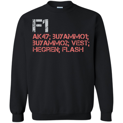 CustomCat Apparel Printed Crewneck Pullover Sweatshirt  8 oz / Black / Small Counter Strike Buy AK47 Red Tee