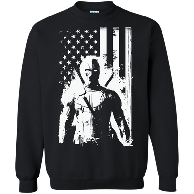 CustomCat Apparel Printed Crewneck Pullover Sweatshirt  8 oz / Black / Small Deadpool Flag Tee