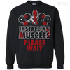 CustomCat Apparel Printed Crewneck Pullover Sweatshirt  8 oz / Black / Small Deadpool Installing Muscles Tee