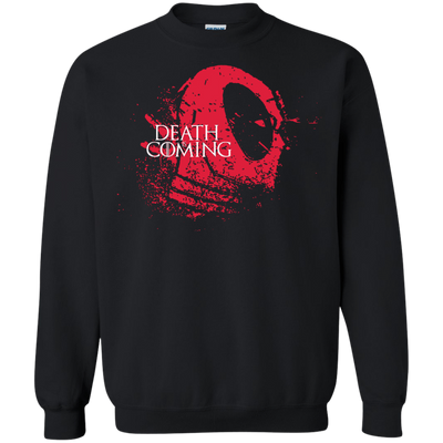CustomCat Apparel Printed Crewneck Pullover Sweatshirt  8 oz / Black / Small Death is Coming Tee