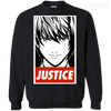CustomCat Apparel Printed Crewneck Pullover Sweatshirt  8 oz / Black / Small Death Note Justice Tee